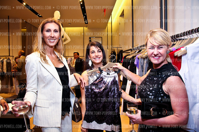 Pam Taylor, Marie Hunter Frazier, Stacey Capuano. Elie Tahari Opening. Photo © Tony Powell. April 27, 2011